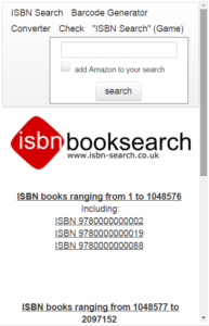 Screenshot of the website isbn-search.co.uk