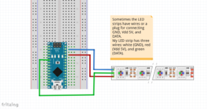 This fritzing file shows a schematic of how to wire an Arduino Nano to the LED pixel strip.