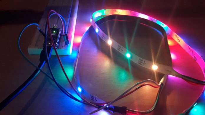 LED pixel strip controlled by an Arduino Uno.