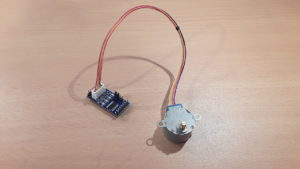 A 28BYJ-48 stepper motor connected to a ULN2003A driver board.