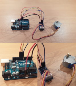 Pin layout that shows how to connect a 28BYJ-48 stepper motor to a ULN2003A driver board and an Arduino Uno.
