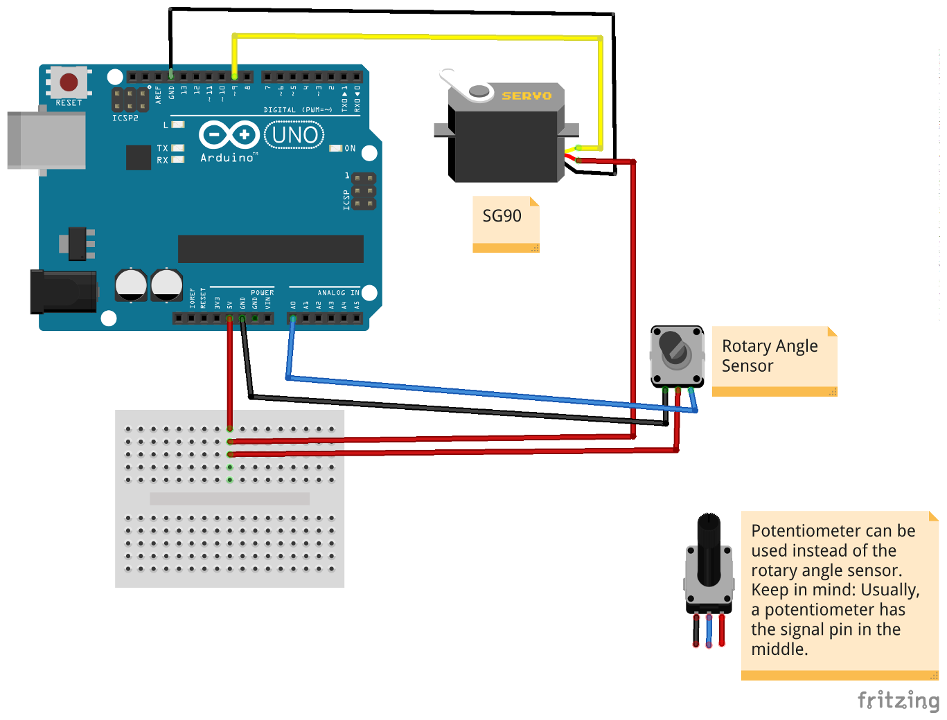 tutorial how to control a servo motor sg90 with the arduino uno rh mschoeffler de Potentiometer Wiring Guide Potentiometer Pinout