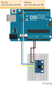 Fritzing file that shows how to wire the GY-521 breakout board to an Arduino Uno.