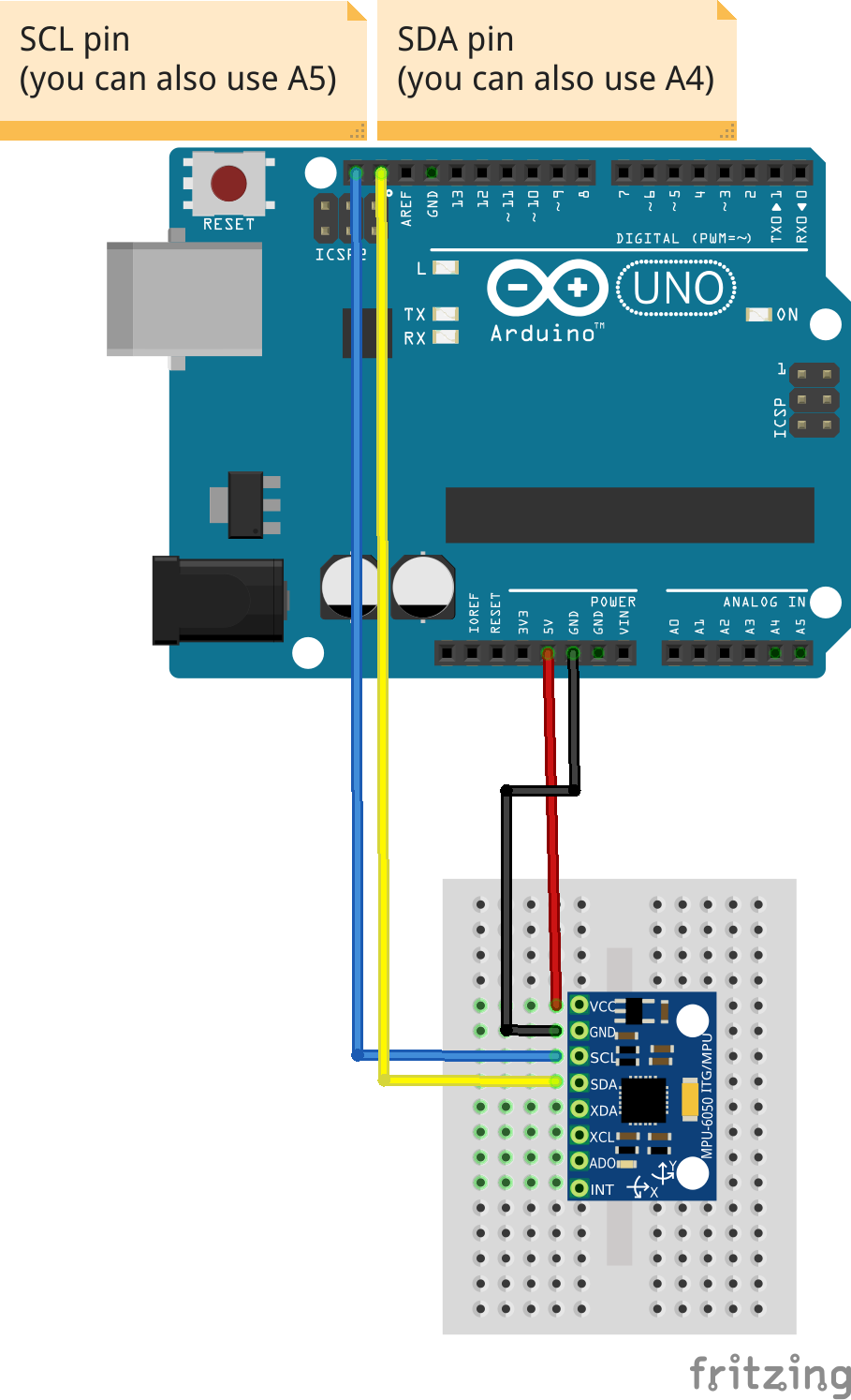 Tutorial How To Use The Gy 521 Module Mpu 6050 Breakout Board Arduino Uno Wiring Diagram Fritzing File That Shows Wire An