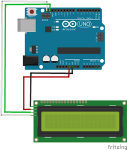 Fritzing files that shows how to wire an LCM1602 IIC V1 module to an Arduino Uno.