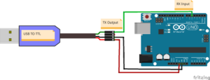 Fritzing file that shows how to connect a USB-to-TTL serial adapter to an Arduino Uno.