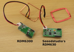 On the left hand side is the RM6300, which is a very affordable (1-3$) RFID reader. On the right hand side, is the RDM630. The RDM630 is more expensive (10-15$) but also more robust.
