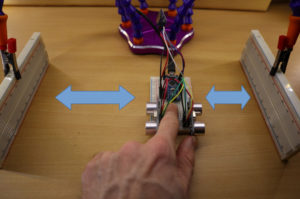 Arduino is moved to the left and to the right in order to collect some data.